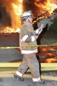 (3) The fire scene's