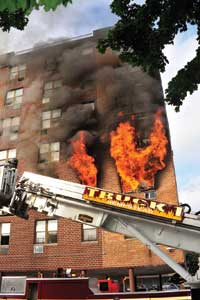 (2) The fire is in a free-burning stage, consuming all the fuel in the fire apartment and autoexposing the fourth and fifth floors.