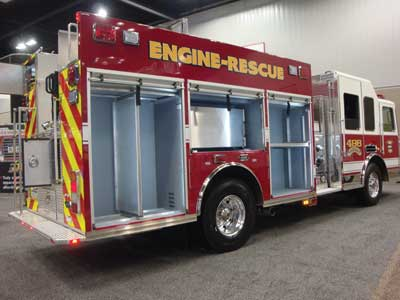 (15) KME displayed this unit with 496 cubic feet of compartment space.