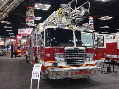 (16) KME has redesigned its aerial line to include wide access, high handrails, and a replaceable stainless-steel tip.