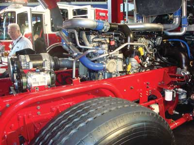 (27) Pierce displayed its CF (cab forward) chassis with the Detroit Diesel, EPA-compliant, 500-hp engine.