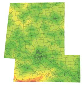 One-mile road distance increments from developed water sources are depicted in color