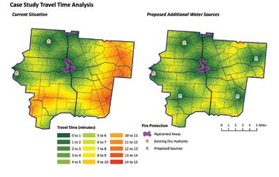 One-way travel time in minutes from existing (left) and proposed (right) developed water sources. Orange and red areas represent those most distant from a water supply. Purple areas are within 1,000 feet of pressurized hydrants.