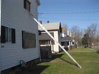 (1) Placing the ladder at an angle that is lower than usual may make it easier for two firefighters to remove the victim. It will also make it easier for firefighters to bail out of the window if conditions should change rapidly. (Photos by author.)