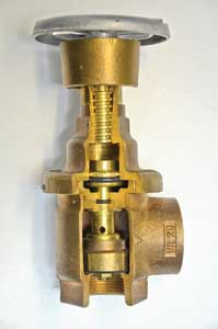 (16) Note that the threaded stem attached to the hand wheel is not connected to the floating valve stem. This allows the valve to float in a range from fully open to fully closed.