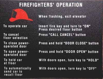 (26) Smoke detectors in the hoistway or machine room activate the flashing fire helmet icon. Activation of heat detectors will actuate a shunt trip, shutting down the elevators before heat causes the sprinklers to flow.
