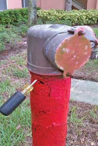 (5-6) These FDCs have failed, necessitating supplying the standpipe system from a first-floor outlet or, in the case of PRVs, the fire pump test header. In photo 5, salt air has corroded the pipe below the FDC to a point that it can be penetrated with a screwdriver. In photo 6, this FDC was