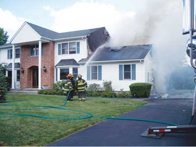 (7) The vinyl siding that was autoexposed by the original fire ignited spectacularly but miraculously did not enter the gable vent or attic.