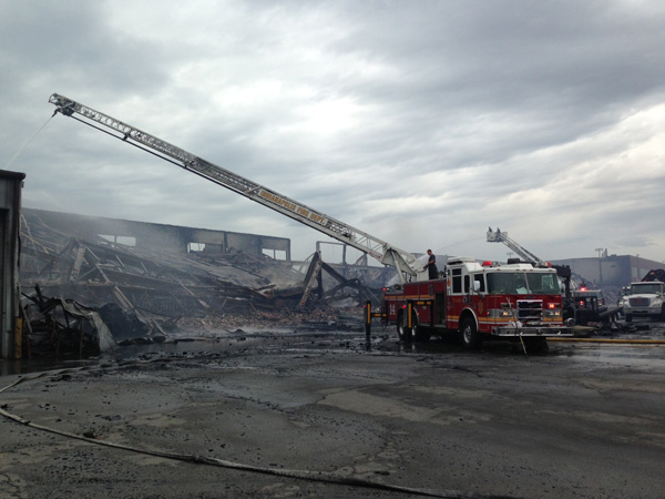 IN Firefighters Battle Large Recycling Plant Fire