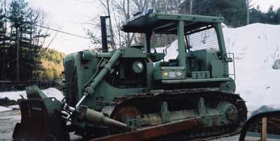 bulldozer equipped with a rear winch