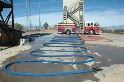 (2) 200 feet of traditional 2½-inch hose at 100 psi.