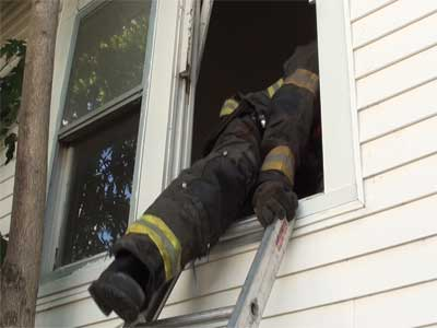 When entering from a ladder, it is important to keep one hand on the ladder to maintain orientation with the egress and to prevent the beams from sliding.