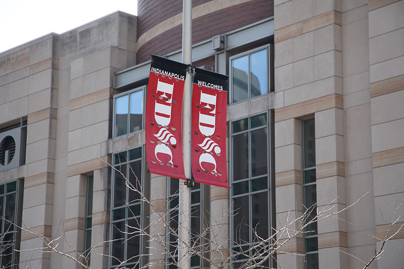 Banners outside the Indianapolis Convention Center announcing FDIC 2014.