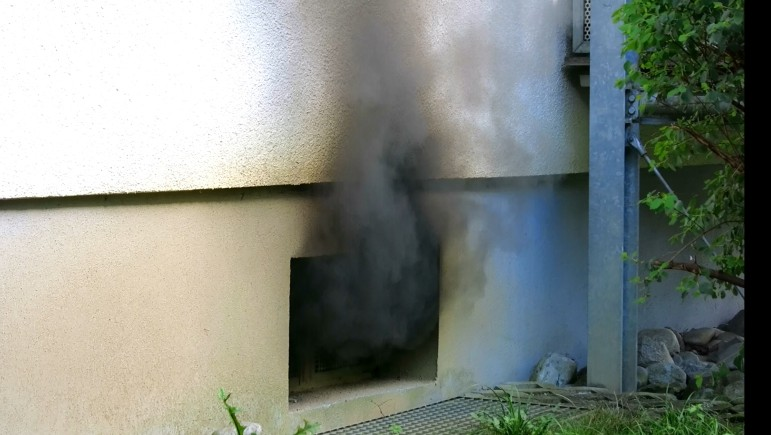 Window on the C side where fire was venting.