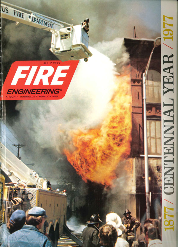 Ron Jeffers's very first cover on Fire Engineering and a national publication: July, 1977