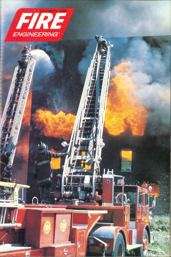 October, 1980 cover of Fire Engineering: Two Newark ladder pipes