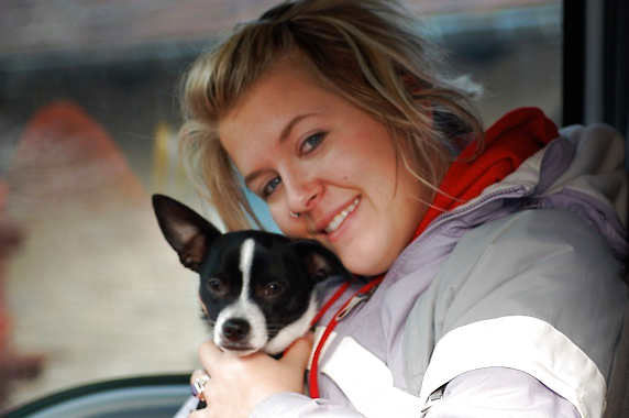 Lindsey O'Brien Kesling and her dog, Chillbe