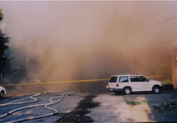 Limited visibility on the fireground.