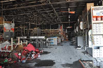 (1) The overall view of the paint department from the main aisle leading to the front entrance