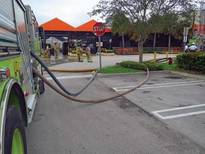 (4) One of the two apparatus pumping two three-inch hoselines to the FDCs