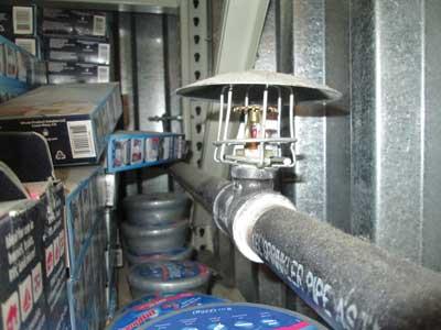 (9) In-rack sprinkler and draft curtains