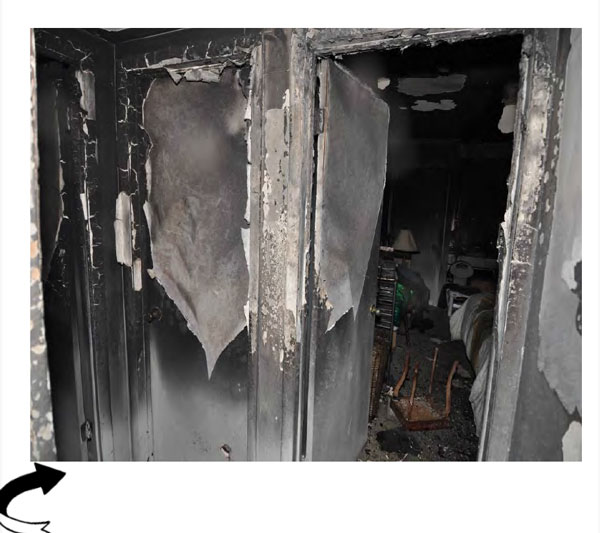 Firefighting public education: Photo showing interior devastation from a fire. Courtesy the ATF.