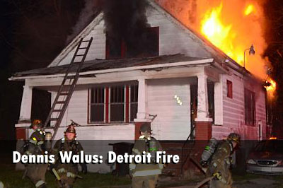 Dennis Walus has photos of Detroit firefighters working to control a fire at an occupied dwelling.