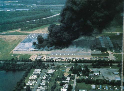 Structural Firefighting: A Falls Township K-mart warehouse in in Bucks County, Pennsylvania, 1982.