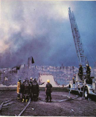 Fire crews at the scene of the 1982 K-Mart warehouse fire.