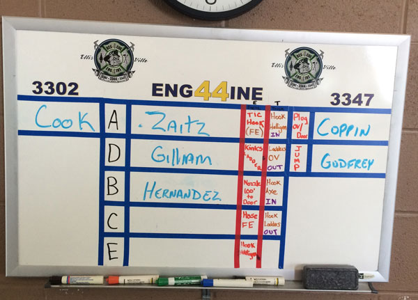 Board indicating ridiing assignments for firefighters.