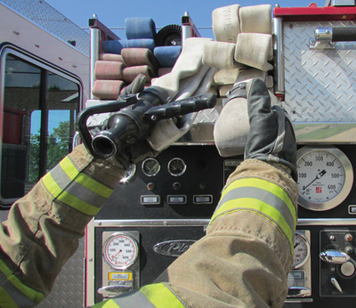 For a single-firefighter deployment, the firefighter grasps the nozzle and marked folds as described. The firefighter is basically creating the strategically placed hoops when pulling the hose from the bed. The hose load is now deployed as previously described.