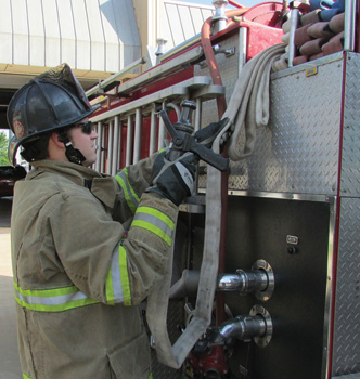 A third loop is added to allow the firefighter to locate the nozzle before pulling the strategically placed loops.