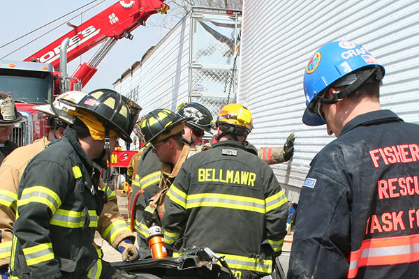 Firefighters partake in extrication training.