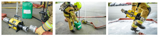 Firefighter using the LEADER Mix.