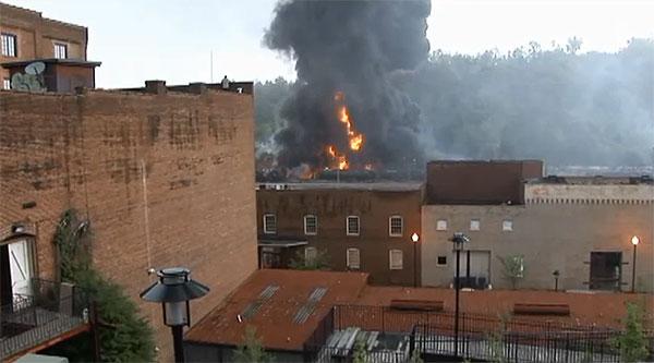 Still from a video of the Lynchburg (VA) oil train derailment.