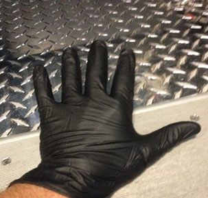 First, rescuers will don their EMS patient care gloves.