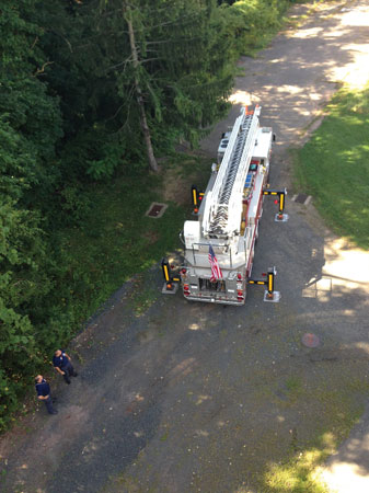 (5) This photo shows the working footprint of this apparatus and what needs to be considered when selecting the final position for the apparatus to be deployed. <i>(Photo by author.)</i>