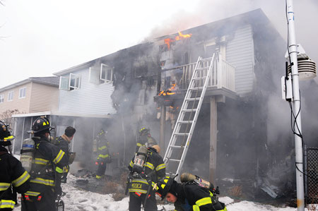 (3) A portable ladder was placed at the second-floor porch as a secondary means of egress. Because of the fire's progression, this ladder might not be a viable option for members on the interior.