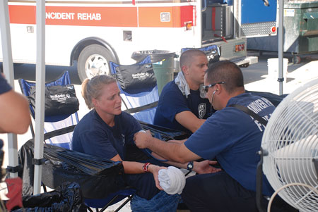 (2) Rehab should be provided at emergency incidents and training events. The detrimental effects of heat stress become cumulative with repeated live fire evolutions during training and, therefore, must be aggressively addressed through rehab.