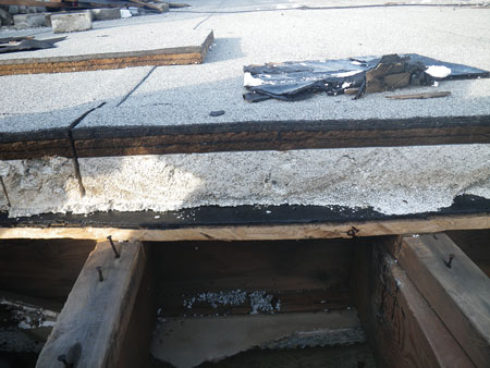 (4) This top roof layer, common in older apartment buildings, has poor insulation in the joist space. The roof depth will vary, hence the need for inspection when cutting.
