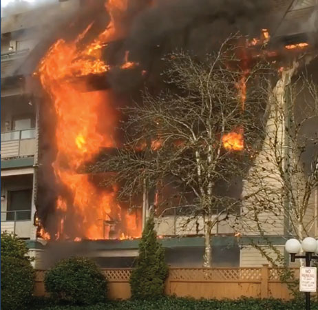(1) A four-story apartment fire in Coquitlam in 2015. (Photo by Zenons Photo/Video; all other photos by author.)