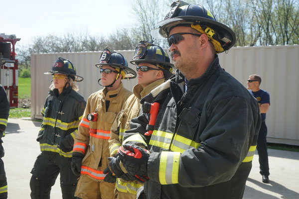 Firefighters on the training ground.