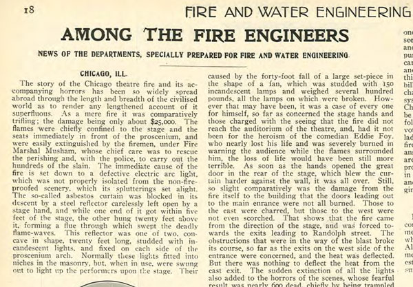 Report from FE on the Iroquois theater fire