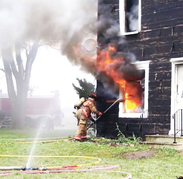 The HydroVent in use at a fire.