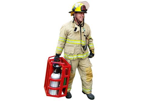 Firefighter bearing MagneGas