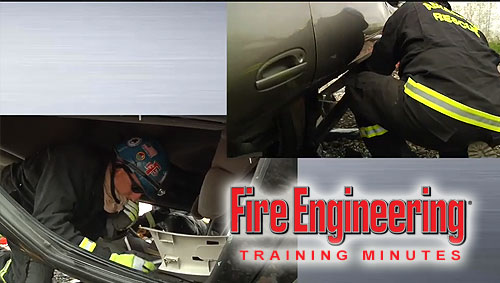 Firefighters work to free a patient in this evolution on vehicle extrication.