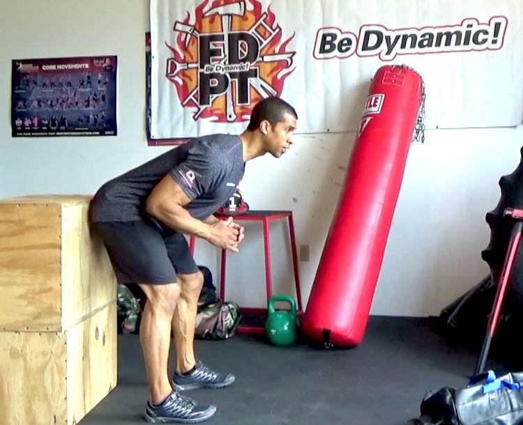 Jorsan Ponder performs a hip hinge exercise