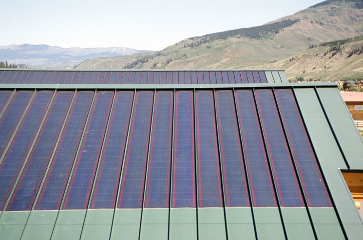Solar panel installed into building