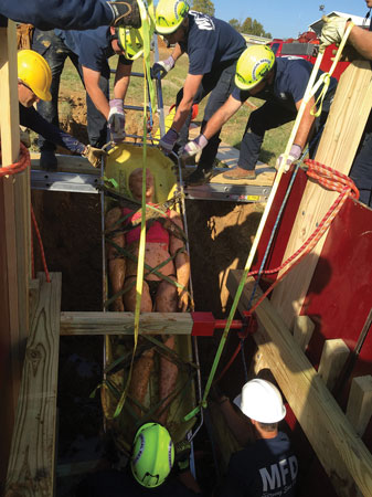 (3) The ladder slide is a simple and fast technique to secure the victim and slide him out of the trench.