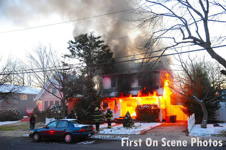 Crews on scene at a burning home in West Hempstead, New York.